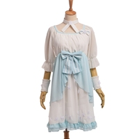Lotus In Rain Mori Girls Fantasy Light Blue Lolita Fairy Bow Chiffon Dress