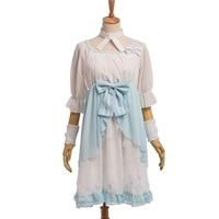 Lotus In Rain Mori Girls Fantasy Light Blue Lolita Fairy Bow Chiffon Dress