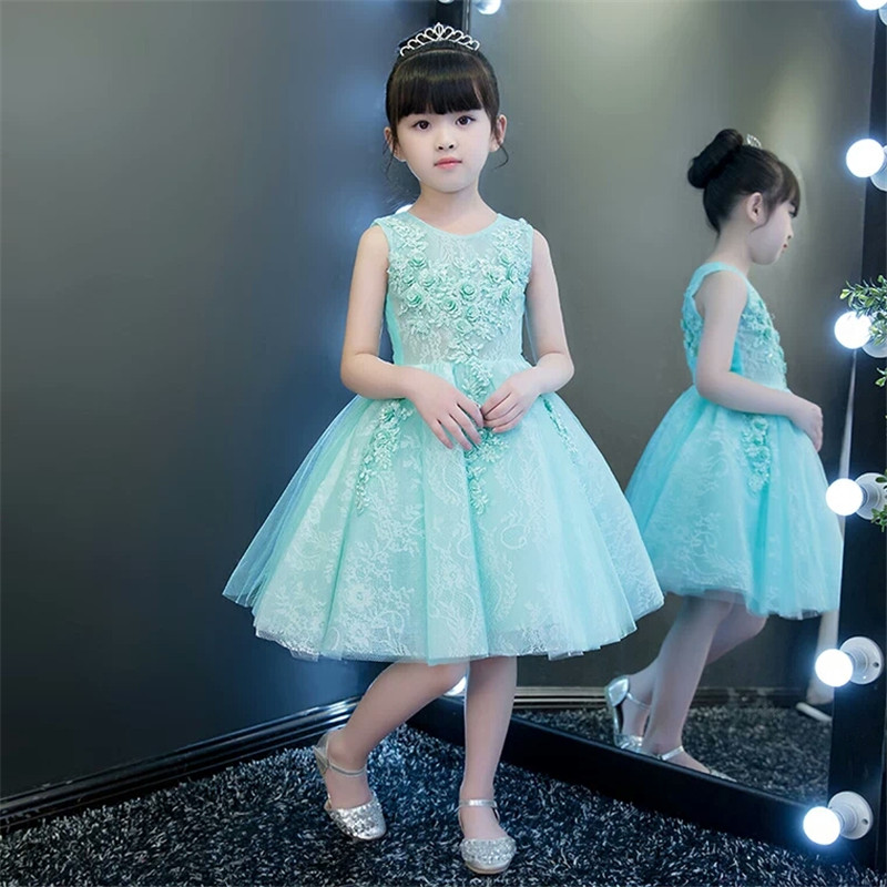 2017New Korean Sweet Girls Children Princess Party Dresses Embroidered Flowers Girl Birthday Wedding Party Ball Gown Lace Dress girls dresses 2017 summer new lace speaker sleeves children dress cute embroidered girl dress floral child ball gown party dress