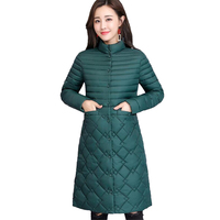 New Autumn winter light Thin women cotton jacket Standing collar Plus size 4XL Slim female warm long Cotton padded jacket N253
