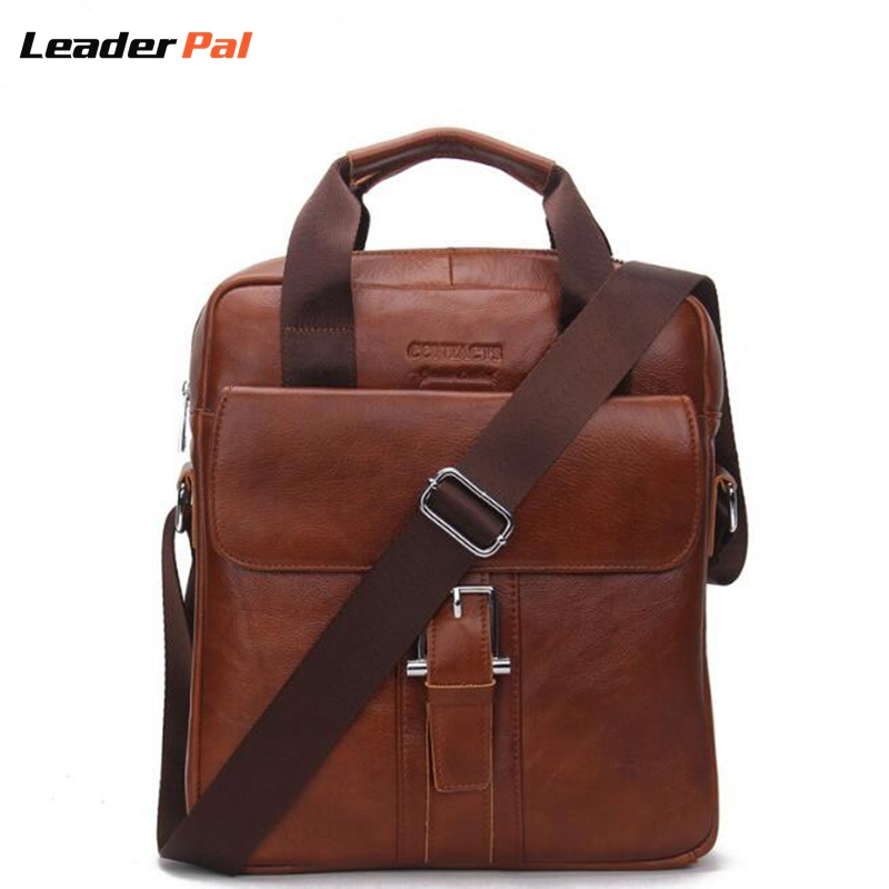 ФОТО LeaderPal Fashion Brand Genuine Leather Man Messenger Bags Cowhide Leather Man CrossBody Bag Casual Men Commercial Briefcase Bag