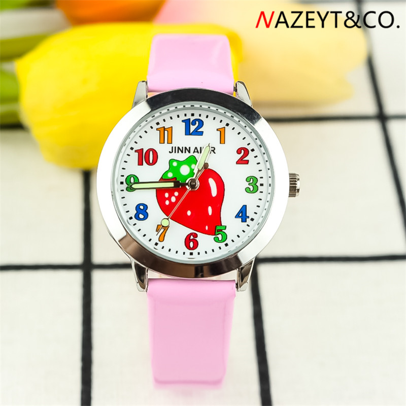 2019 New Fashion Little Girls Cute Cartoon Strawberry Dial Leather Watch High Qulity Children Kids Luminous Hands Gift Clock