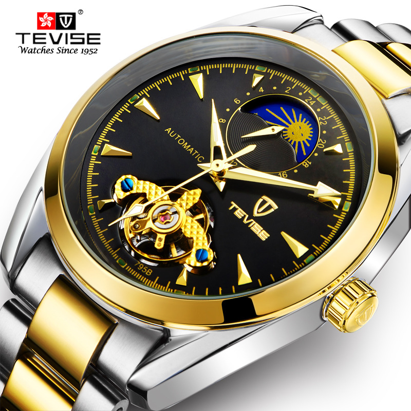 TEVISE Men's Automatic Self-Wind Stainless Steel Wristwatches Moon Phase Tourbillon Watch Automatico Mechanical Clock 795 tevise men automatic self wind mechanical wristwatches business stainless steel moon phase tourbillon luxury watch clock t805d