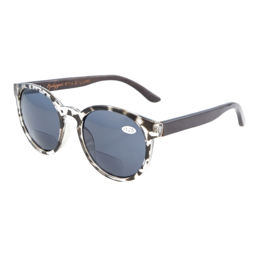 S009 Eyekepper Quality Spring Hinges Wood Temples Oval Round Bifocal Sunglasses Women +1.00/1.25/1.50/1.75/2.00/2.25/2.50/3.00