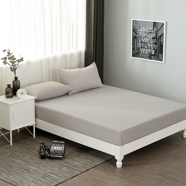 Attractive Cotton Fitted Sheet Waterproof Mattress Cover Twin Full Queen Size Bed Sheet  With Elastic White Grey