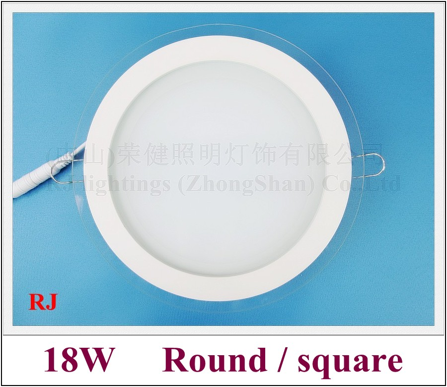 18W recessed LED panel light glass style ceiling LED panel lamp down light SMD5730 AC85V-265V input for US and Asia countries