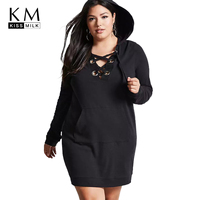 Kissmilk Plus Size Hollow Out Women Sweatshirt Dress Straight Solid Lace Up Hoodied Large Size Female