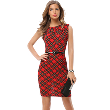 New Womens Vintage Elegant Belted Tartan Peplum Ruched Tunic Work Party Cap Sleeve Bodycon Sheath Dress