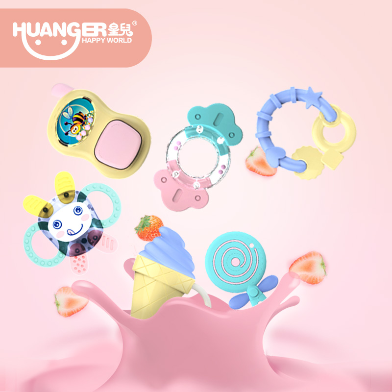 New 5/6pcs Boiling Rattles Baby bite Teethers/Ring Hand Shake Mobile Infant Training Tooth Toddler Bell Kid Toys 2in1 Soft Gift