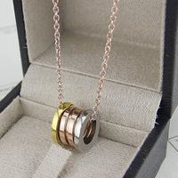 High Quality Brand New Engraved Titanium Steel Mix Spring Necklace Couple Fashion Necklace Bulgaria Bijoux Jewelry