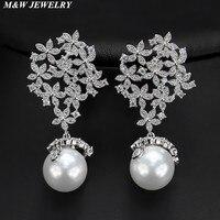 M & W GIOIELLI Nuovo design di lusso di marca micro pavimenta zircone perla orecchini per le donne, monili di alta qualità partito/cerimonia nuziale