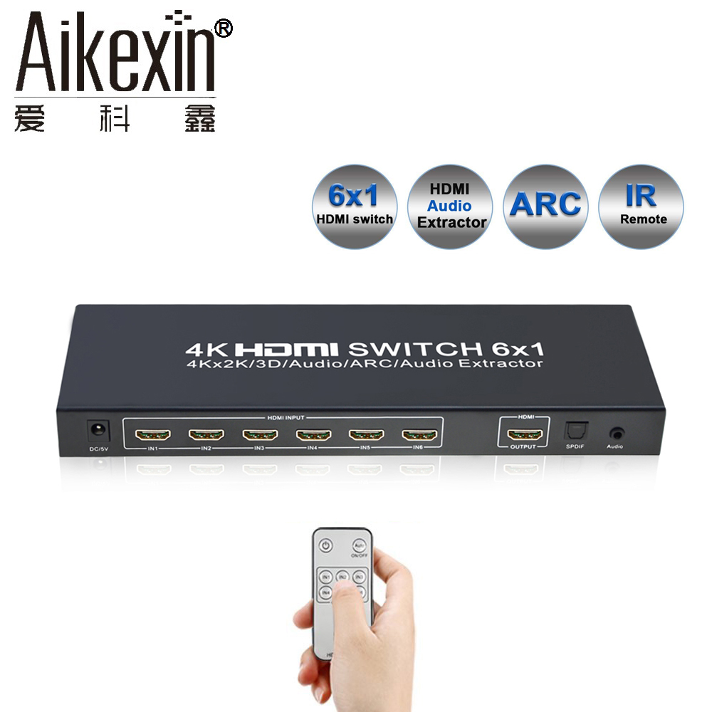 6x1 HDMI Switch Remote 6 Ports HDMI Switch Switcher 4Kx2K HDMI 1.4 Adapter with Optical+3.5mm Audio Out aikexin 6 port 4k hdmi switch 6x1 hdmi switch switcher hub with ir remote support optical 3 5mm stereo audio extractor