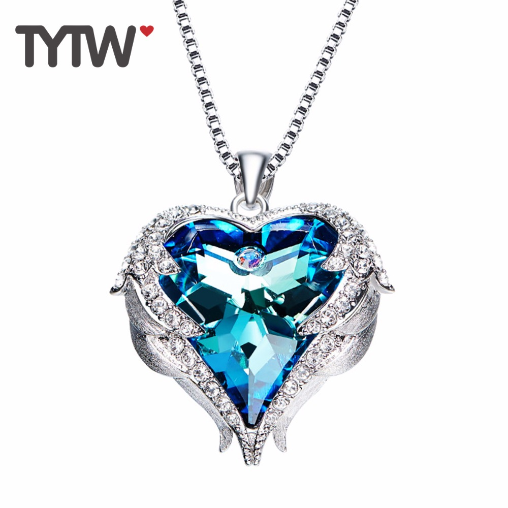 TYTW Crystals From Austrian Necklaces Women Angel Heart Pendant Blue Purple Austrian Rhinestone Chic Fashion Jewelry Gift rhinestone angel wings heart bracelet