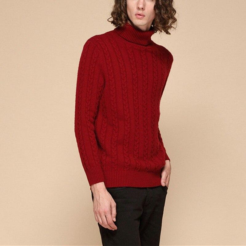 Nouvelle mode 100% de chèvre cachemire tordu épais tricot hommes hiver automne pull chandail col roulé gris clair 3 couleur S-2XL