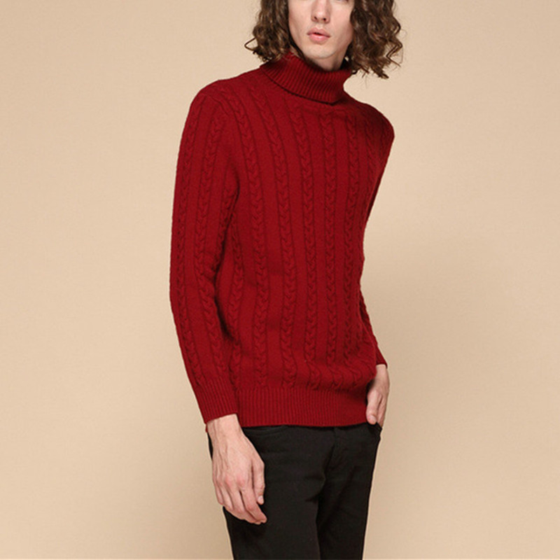 New Fashion 100%goat Cashmere Twisted Thick Knit Men Winter Autumn Pullover Sweater Turtleneck Light Grey 3color S-2XL