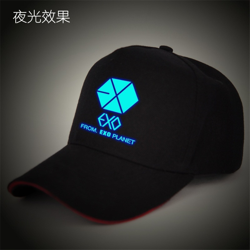 2017 New Hot EXO Snapback Flat Along The Hat Baseball Cap Hip-hop Bone Exo Peaked Gorro Sun Hats Funny Glow in dark night club skullies beanies mink mink wool hat hat lady warm winter knight peaked cap cap peaked cap