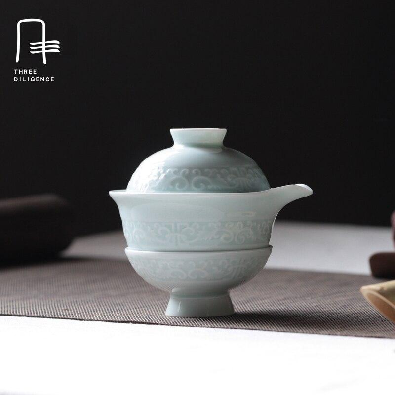 Китайский Gaiwan чашка чая набор кунг-фу Путешествия Чайный сервиз китайские керамические чаши чайные сервизы фарфоровый чайник самовар тени ...