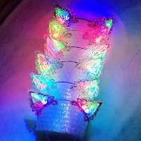 Light Blinking Lace Animal Ears Headband Cat Fox Cosplay Glow Hairband Halloween Glow Concert Wedding Rave LED Party Supplies