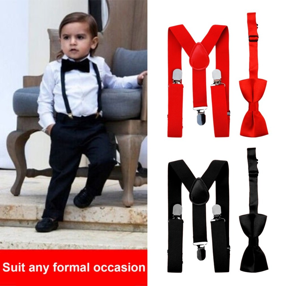 Kids Elastic Suspenders & Bow Tie Matching Tuxedo Suit Unisex Boy Girl Bowtie Children Costume Adjustable Y-Back Brace Belt