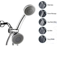 Multifunction Full Chrome 5 Function Ultra Luxury 3 Way 2 In 1 Shower Head Handheld Shower