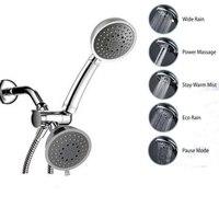 Multifunction Full Chrome 5 Function Ultra Luxury 3 Way 2 In 1 Shower Head Handheld Shower