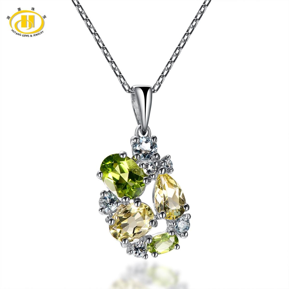 Hutang Trendy Real Peridot, Lemon Star Quartz & Aquamarine 925 Sterling Silver Pendant Necklace Jewelry Free Chain For Women