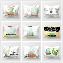Fresh Cactus and Letters Cushion Cover 30x50cm Polyester Decorative Pillowcase Tropical Plants for Living Room Sofa Home Decor цены