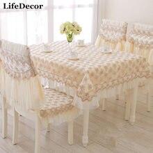 Manera de la calidad rústica silla de comedor cojín para silla de comedor mantel paño de tabla cuadrado cubre conjunto del personalizar camino de mesa de café