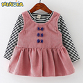 Menoea Baby Girls Dress Lovely Dresses Black and White Stitching Sleeve Small Bow Princess Dress Children Clothing Newborn