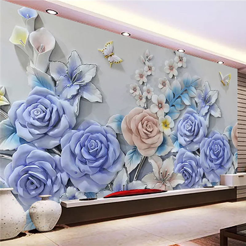Custom Mural Wallpaper 3D Relief Flowers Photo Wall Paper Living Room TV Sofa Background Wall Decor Modern Simple 3D Wallpapers