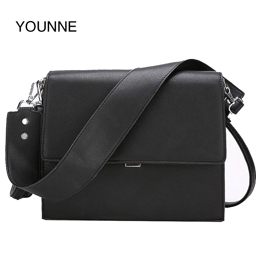 YOUNNE Women Bags Simple Solid Woman Messenger Shoulder Bag Purses And Handbags For Girls Party Brown Black Briefcase Leather