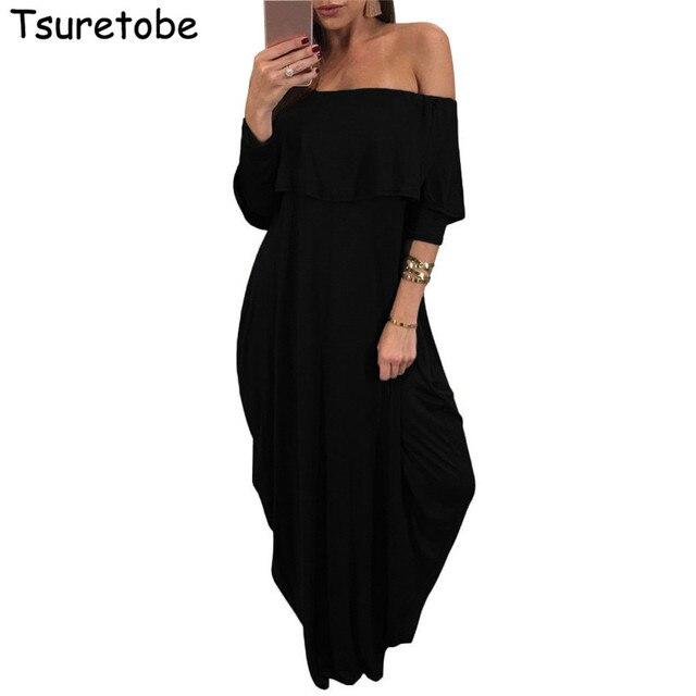 Tsuretobe 2017 Autumn Winter Long Sleeve Ruffles Maxi Dresses Womens Off  Shoulder Casual Dress Ladies Loose Elegant Dress Female a2d2c6b584