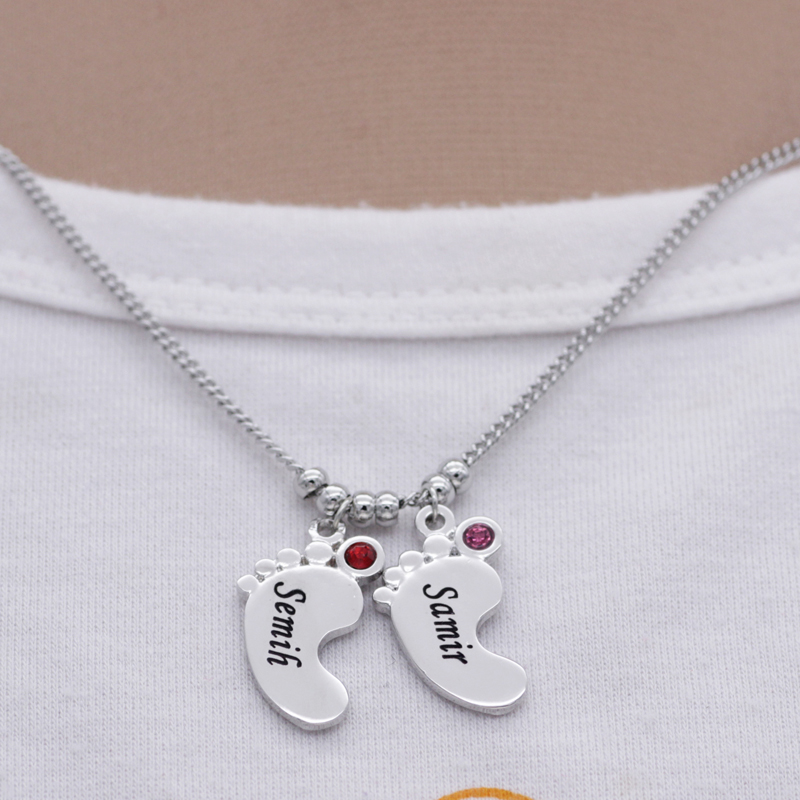 Silver feet necklace personality birthstone baby feet pendant silver feet necklace personality birthstone baby feet pendant necklace custom any name best birthday gift dropshipping yp2976 in pendants from jewelry negle Image collections