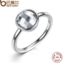 BAMOER three Shade 925 Sterling Silver Rings White & Blue Massive Glass Stone Girls Finger Ring Appropriate With Pan Jewellery PA7182
