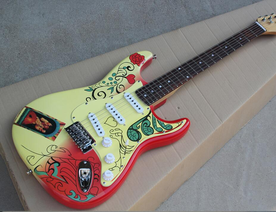 Guitare électrique personnalisée avec motif spécial, micros en palissandre, matériels chromés, offre d'expédition gratuite personnalisée