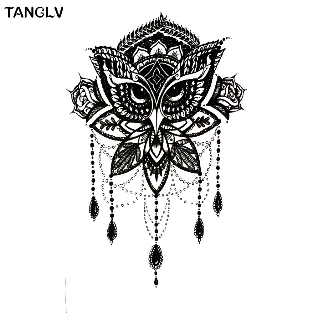 NEW ARRIVAL Black OWL SO COOL NEW ARRIVAL 21X 11.5 CM Temporary Tattoo Stickers Temporary