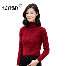 HZYRMY Autumn Winter New Women Cashmere Sweater Fashion High-Neck Solid Slim Shirt High-Quality Wool Knit pullover Soft
