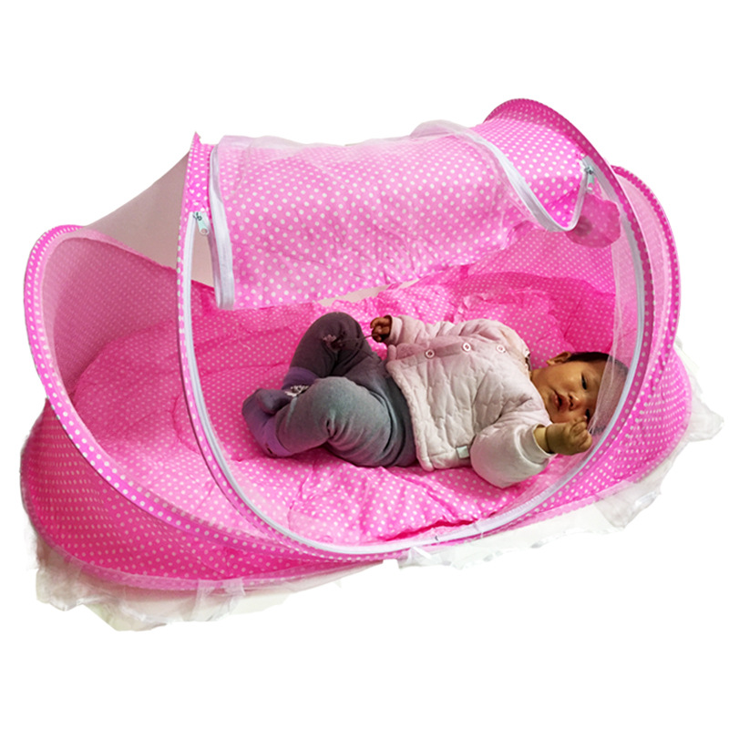 0-3 Years Old Children Baby Bedding Crib Netting Folding Baby Mosquito Nets Bed Mattress Pillow 4 Pieces Suit