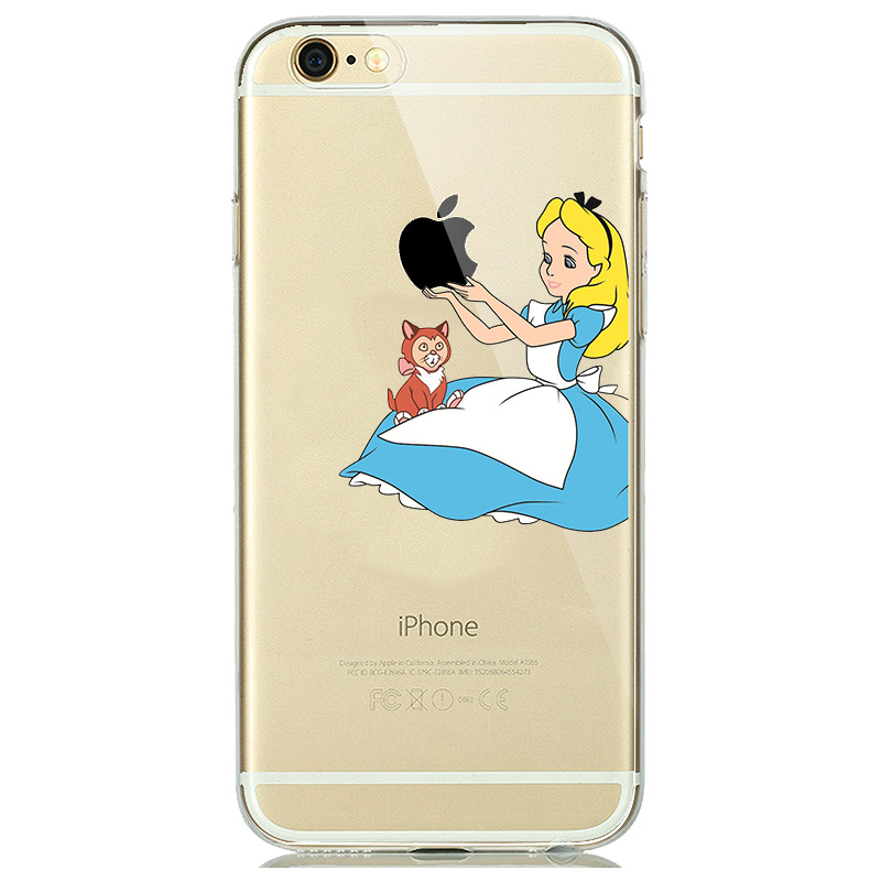 buy popular 5b7c3 e856c Lovely Princess Snow White Cinderella Mermaid Silicone Case for capinhas  iphone 8 7 Plus 6 6s 5s SE Clear Case Cover Clown Joker