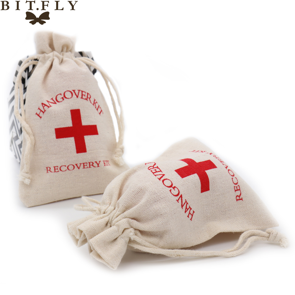 5pcs Wedding Hangover Kit Bags 10*14cm Cotton cross jewelry favor ...