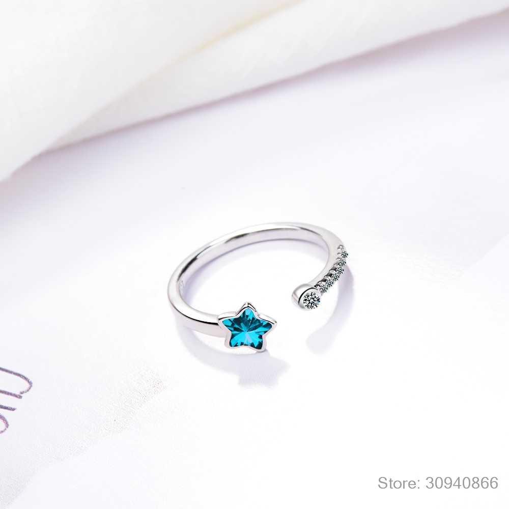 Anneau d'ouverture étoile en cristal bleu pour femme cadeau fille 925 bague en argent Sterling Micro zircone anillos anel S-R368