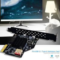 Front USB3.1 Type E 20 Pin Expansion Card 10Gbps USB 2.0 PCI Express 3.0 X2 Adapter for Desktop PC