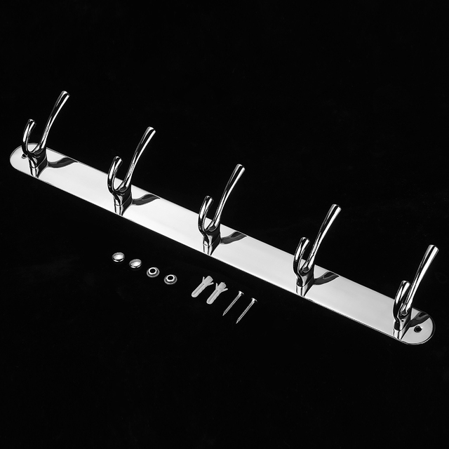 Wall Mounted Storage Hook Rack Stainless Steel Hook Rail Wall Mount Coat  Hanger With 5 Hooks