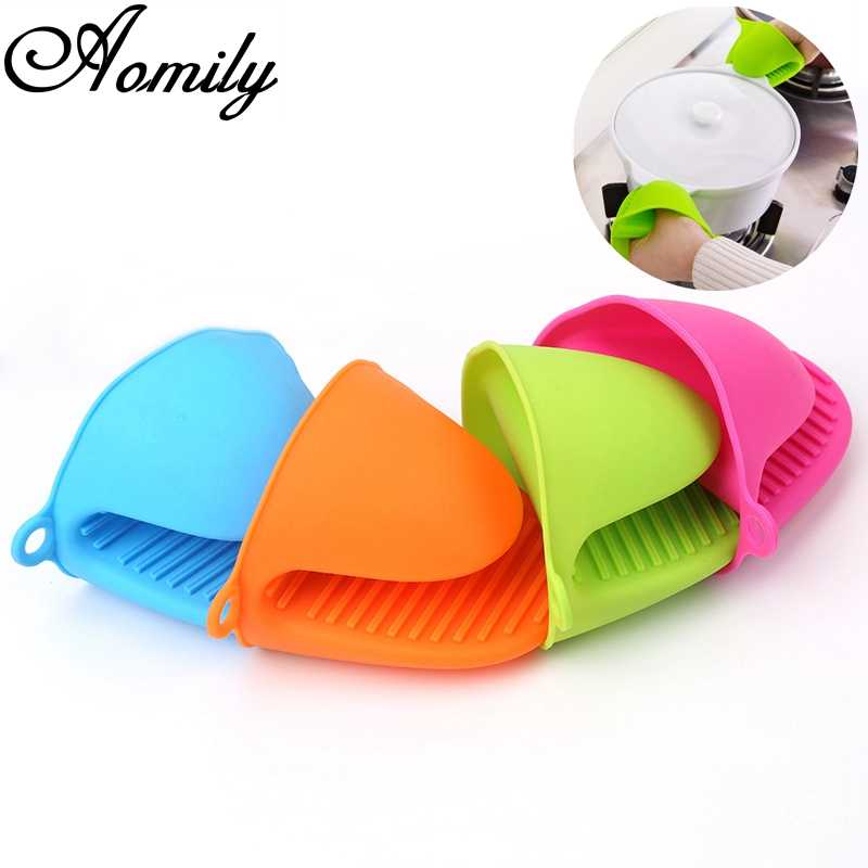 Aomily 1 Pc Clipes de Silicone Luvas Resistentes Ao Calor Isolamento Panela Antiaderente Anti-slip Titular Intestino Clipe Cooking Baking forno Mitts