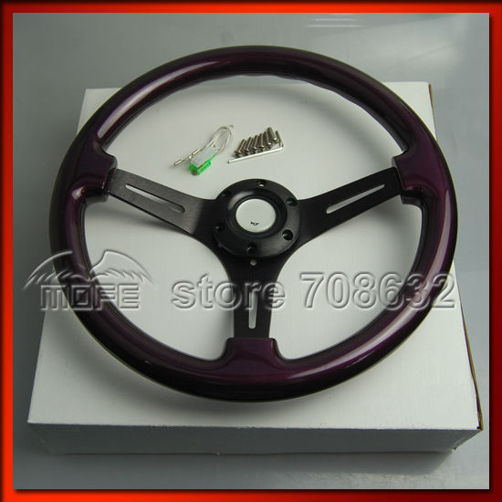 SPECIAL OFFER 53mm Deep Dish 14 Inch 350MM Wood Steering Wheel For Sport Racing Car Purple