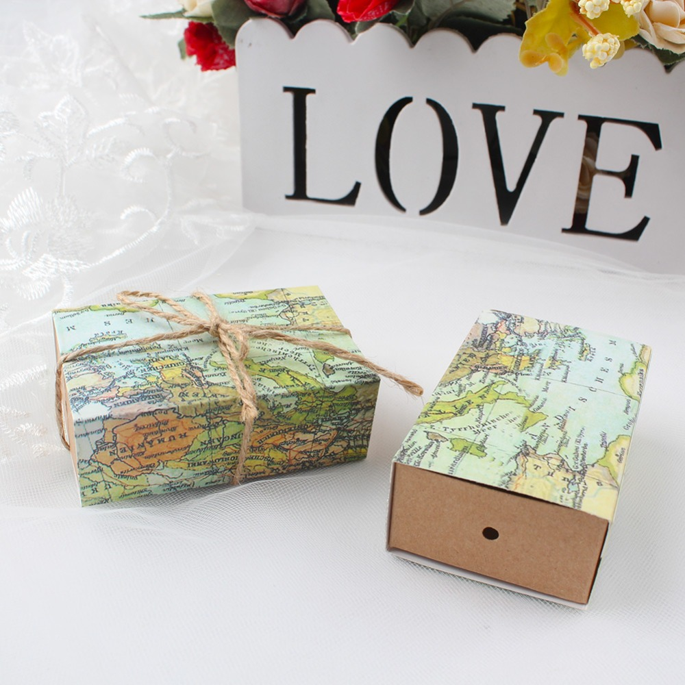 50pcs Paper Gift Boxes for Wedding Decoration Travel Theme Candy Box ...