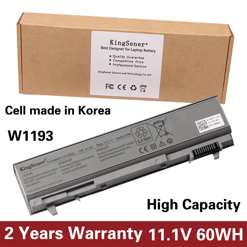 KingSener Korea Cell New W1193 Battery For DELL Latitude E6400 E6410 E6500 E6510 M4400 M6400 PT434 PT436 PT437 KY265 KY266 KY268 9cells 85wh original new laptop battery for dell latitude e6400 atg e6500 e6510 pt435 nm633 mp307