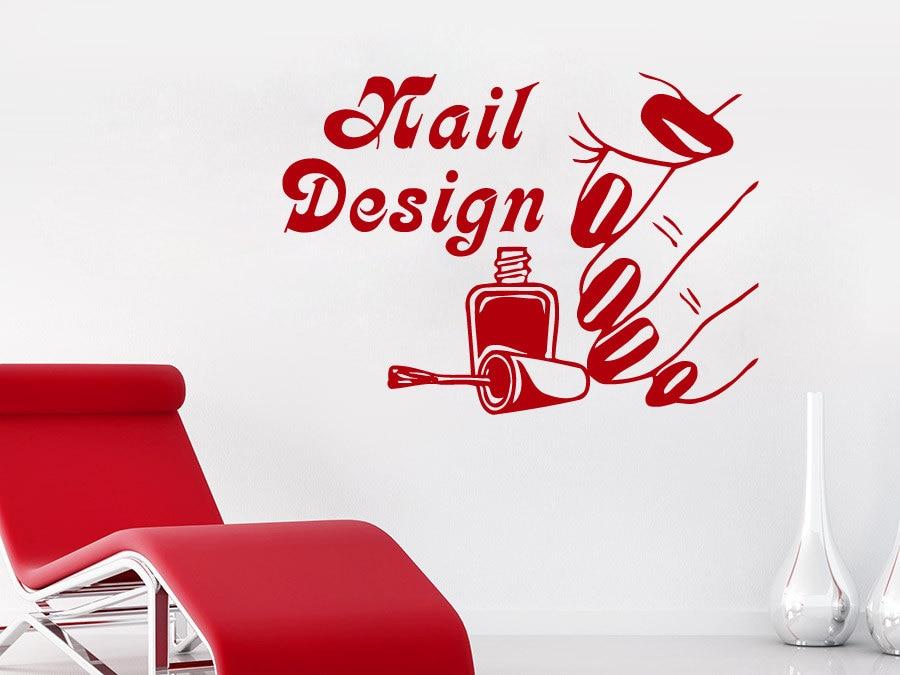 Nail Salon Wall Decal Girl Nails Design Vinyl Removable Wall Stickers Nail Polish Pattern Beauty