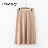 Hole Knitted Skirt for Autumn Winter Casual Plus Size XXXL Women Midi A line Skirt Solid SWM1293
