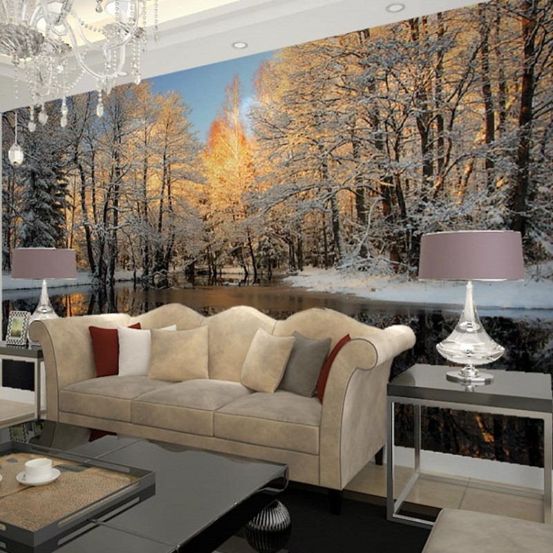 winter nature landscape home decor living room wall mural beibehang birch trees forest snow. Black Bedroom Furniture Sets. Home Design Ideas